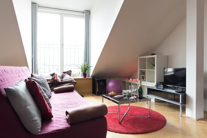 NEW! Letna Large Duplex apartment (Just walk!)