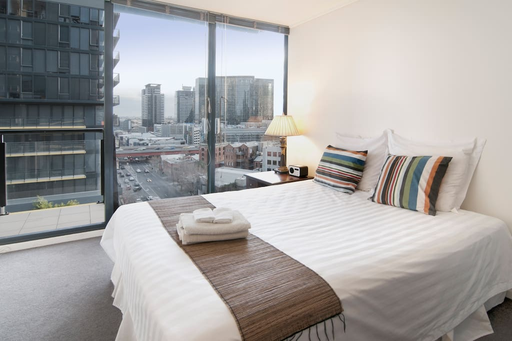 Master bedroom with city views