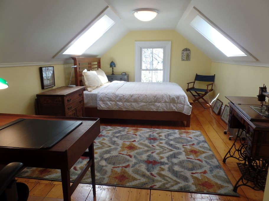 Large skylit bedroom, queen bed, closet with dresser