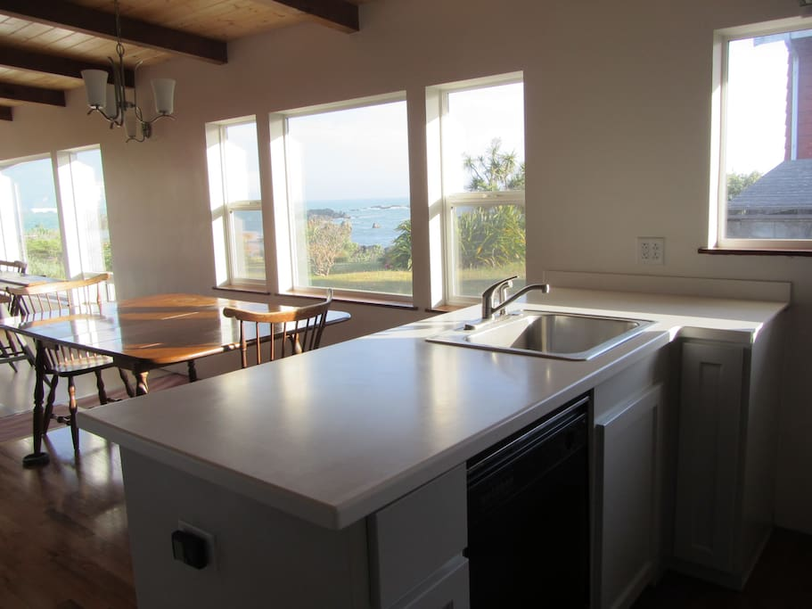 Kitchen area with ocean view