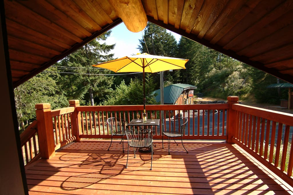 Very sunny partly covered front deck
