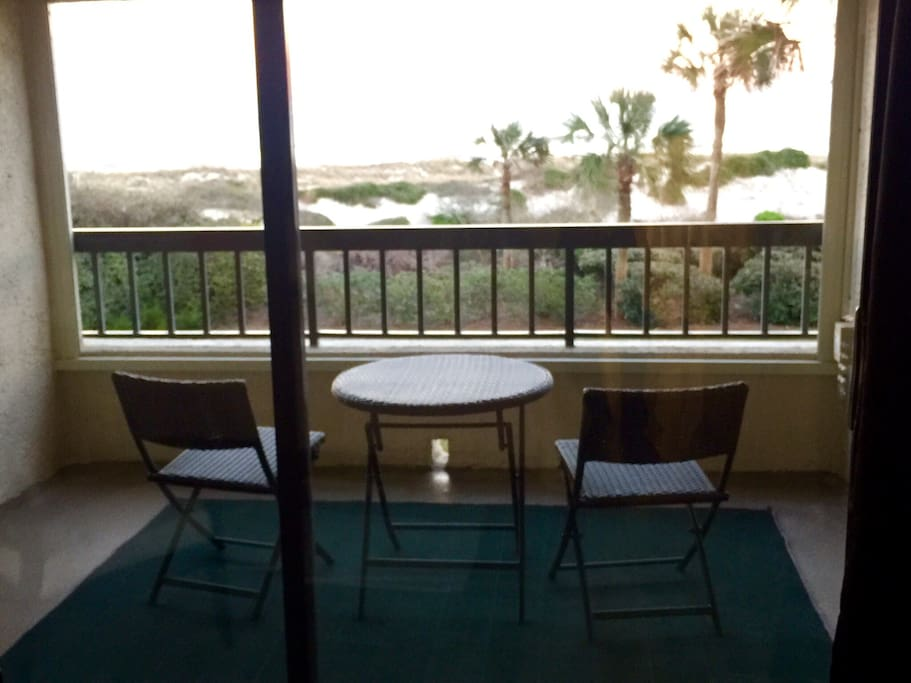 There is never a bad time to watch the ocean from this patio.
