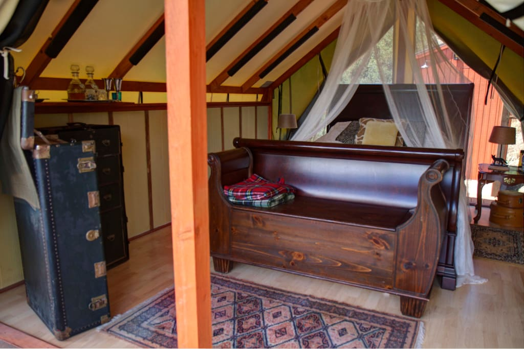 Sensual and sleek, the Malibu Safari Chic Tent provides adventure in style... in Malibu!