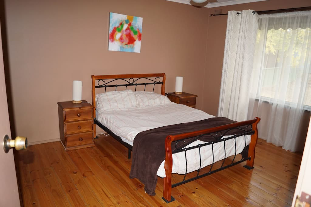 Main bedroom with ceiling fan