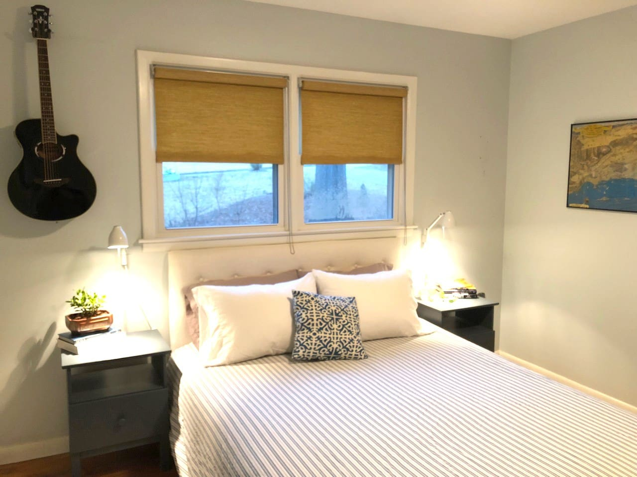 The master bedroom has a comfortable queen bed, bathroom with shower and a Yamaha guitar in addition to a Yamaha sound system for your playing and listening enjoyment!
