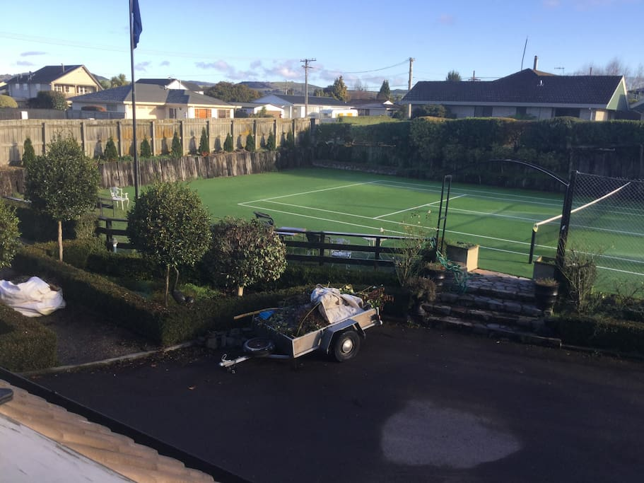 View of tennis court from appartment