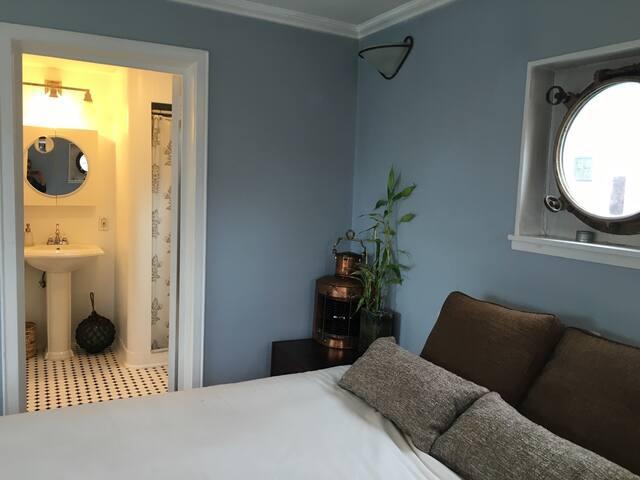 Original portholes and contemporary decor.