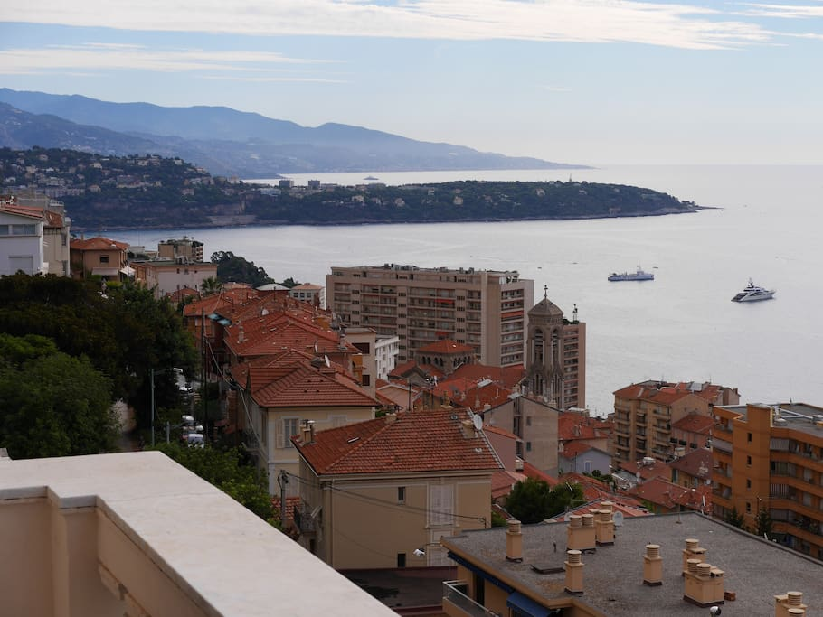 Real view on Roquebrune-Cap-Martin and Italy