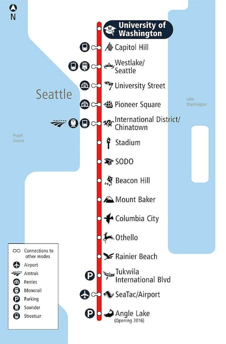 Sound Transit Link Light Rail Stations, 10 minutes to downtown, 15 minutes to airport
