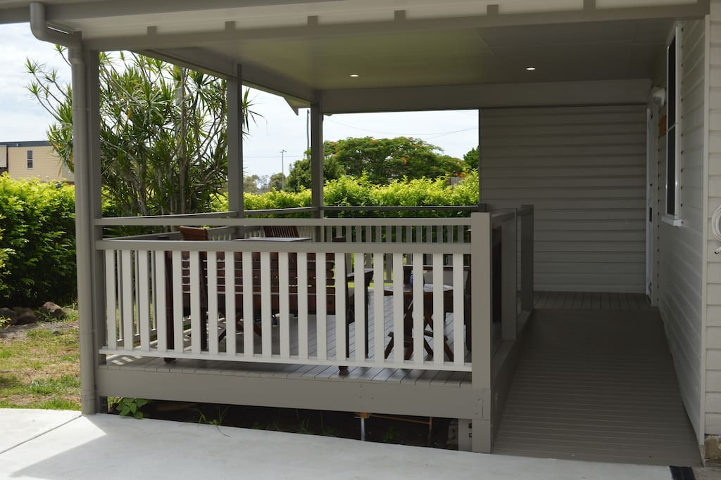Front Deck with ramp access .