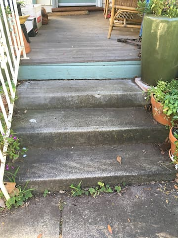 There are 4 steps which lead to the front porch.