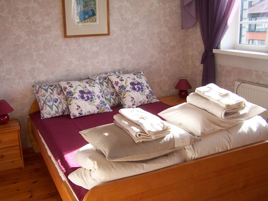 A comfortable double bed for a good night's sleep. (Air mattress for kids available!)
