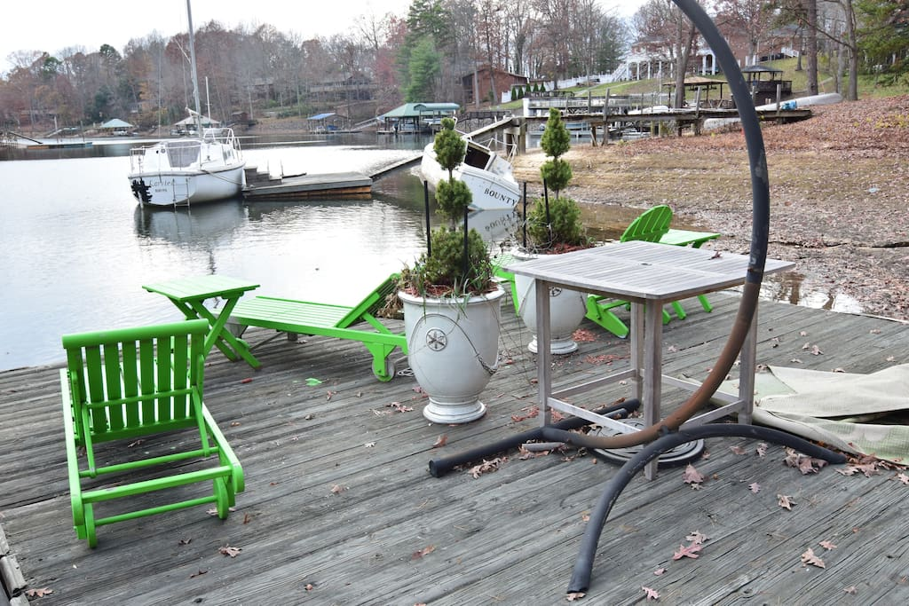 Deck chairs on lake