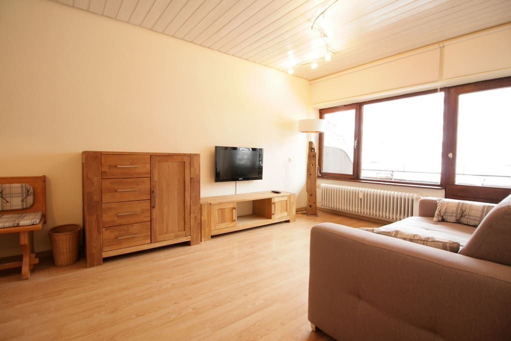 Lounge with door to balcony