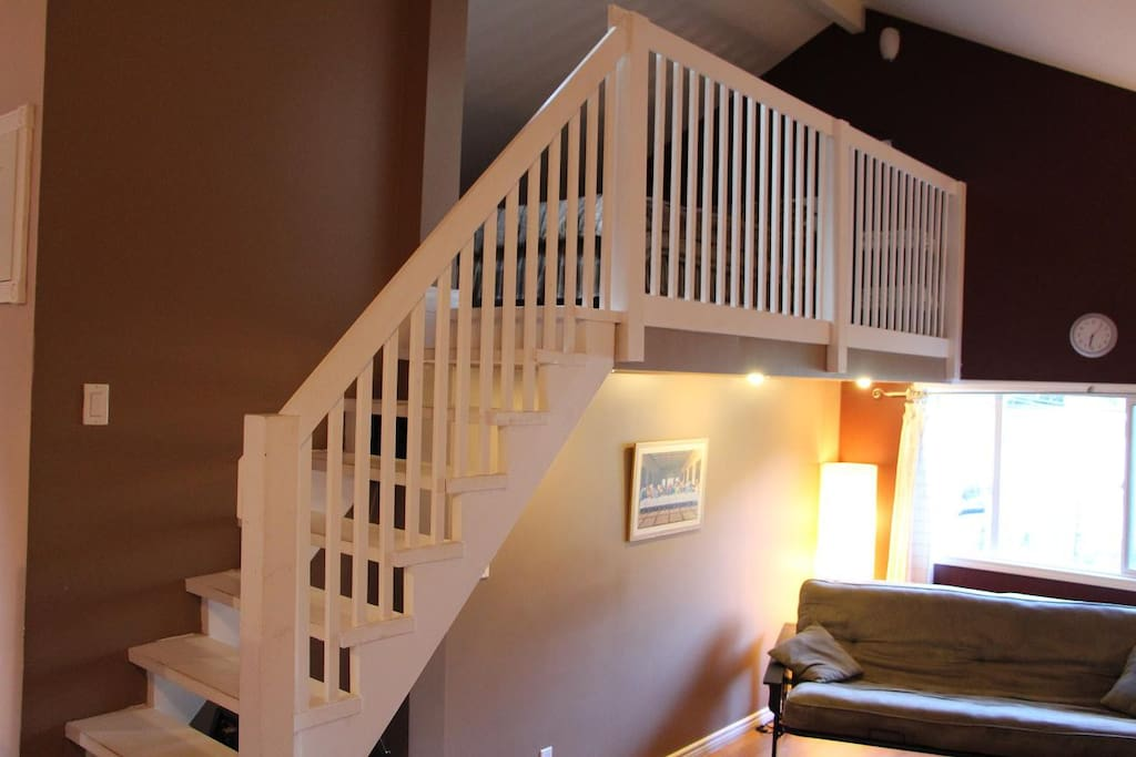 Stairs leading up to the loft