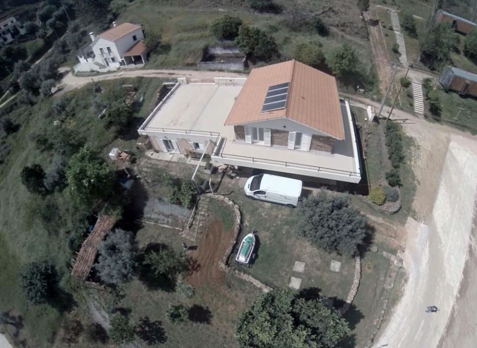 Aerial view of the house and guest house