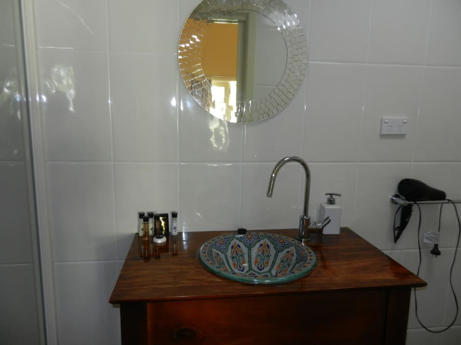 Spotless shower , toilet and hand basin