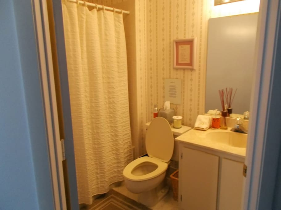 Private bathroom, vanity and shower just out your bedroom door