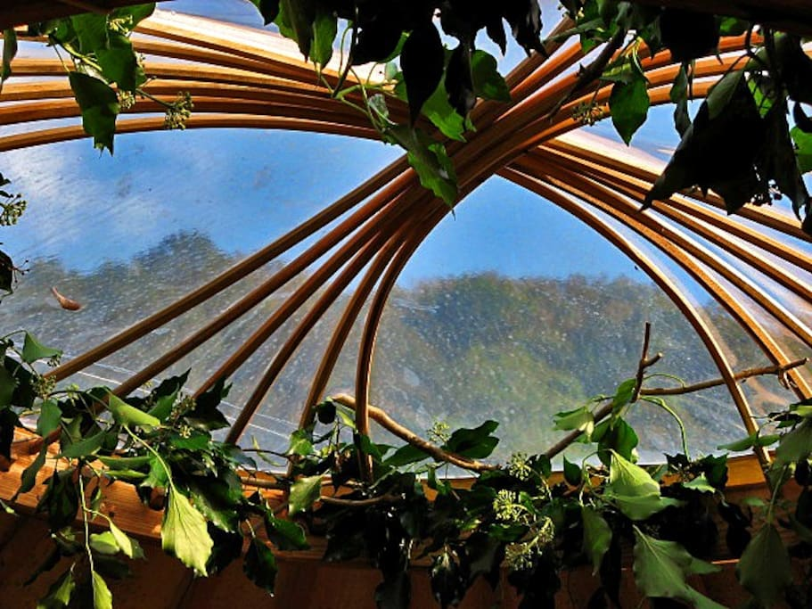 The view through the yurt roof wheel (described as the 'Eye of God' or the 'Eye of Heaven' in Mongolian tradition) gives a wonderful outlook to the skies, allowing you hours of peaceful cloud watching or stargazing.