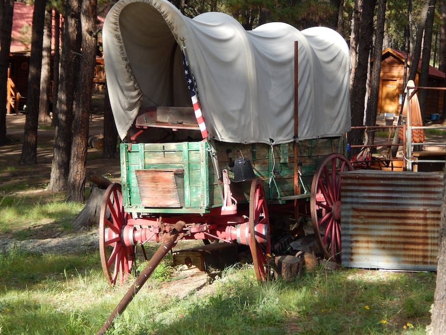 The chuck wagon at the center of the property