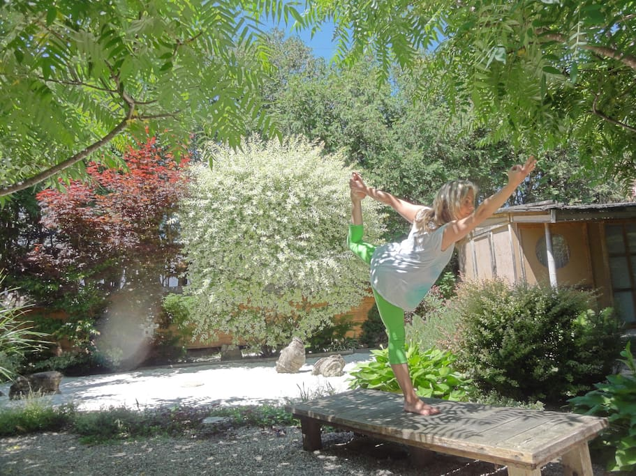 The garden has been featured on many local TV shows; 6th season for Yoga en Progres at the film set!