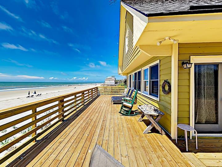 Beachfront Getaway w/ Huge Deck, Classic Interiors