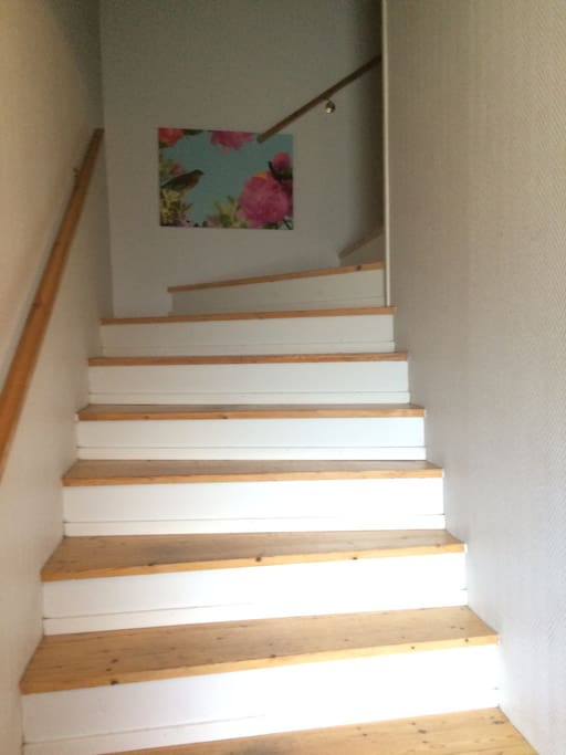 When you step into the house, one door (to the right) leads to my apartment, to get to your apartment, (the roof-floor) you just use these stairs!