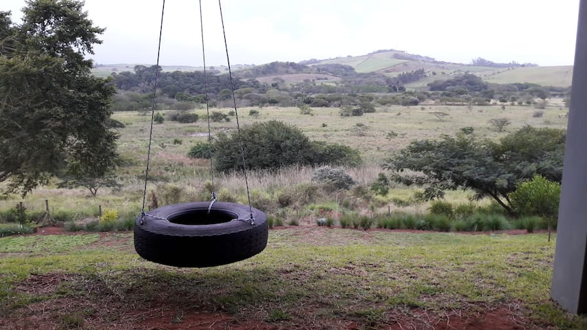 Swing looking over the lower garden