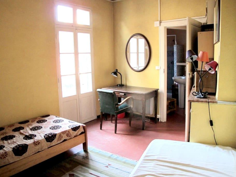 Chambre lumineuse et calme avec 2 lits individuels qui donnant sur salle de bain privée (toilettes et douche)