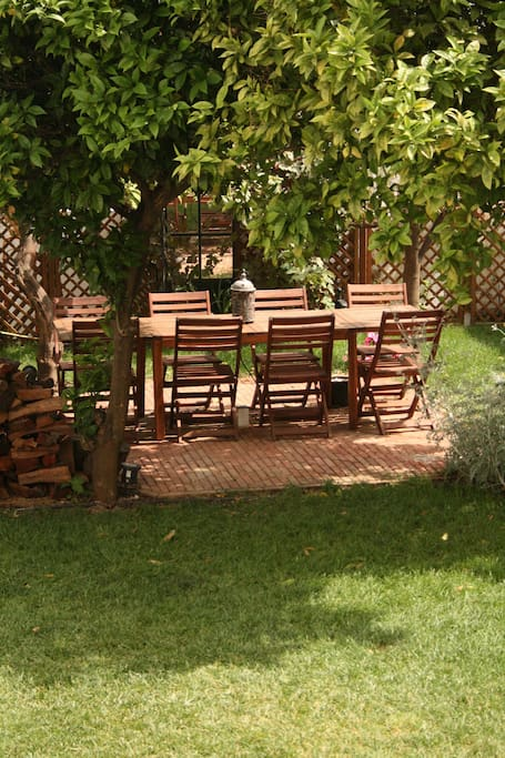 Outdoor dining for 8, small charcoal burners for barbecuing and outdoor wood oven.