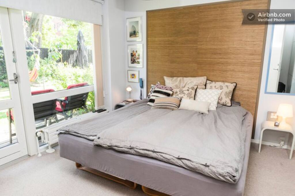 Master bedroom and kingsize bed