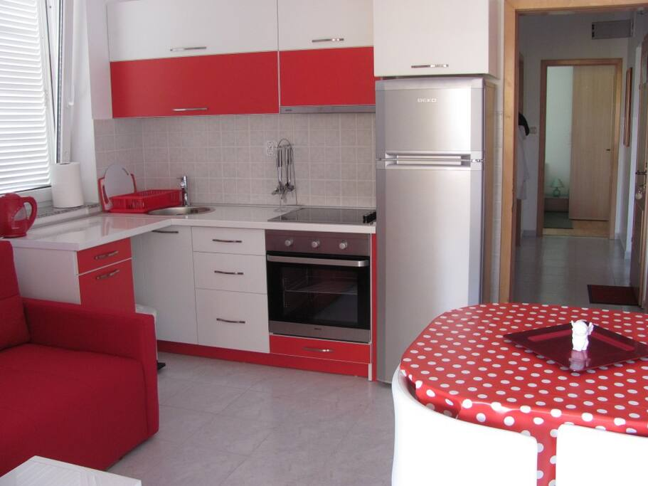 A modern kitchen, fully equipped.