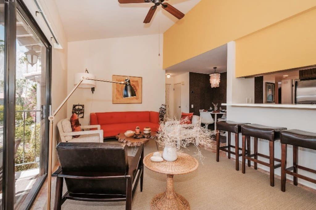 The open floor plan of the living room, dining room and kitchen make it easy to entertain.