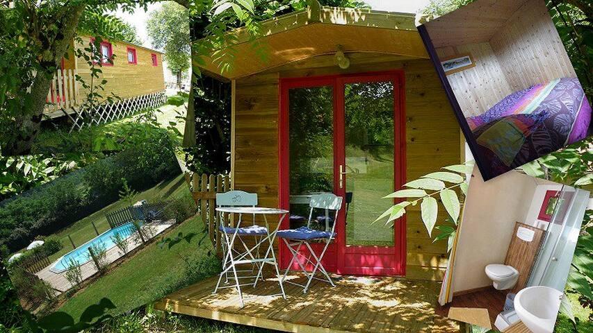 Roulotte de charme avec piscine 2p - Le Buisson-de-Cadouin