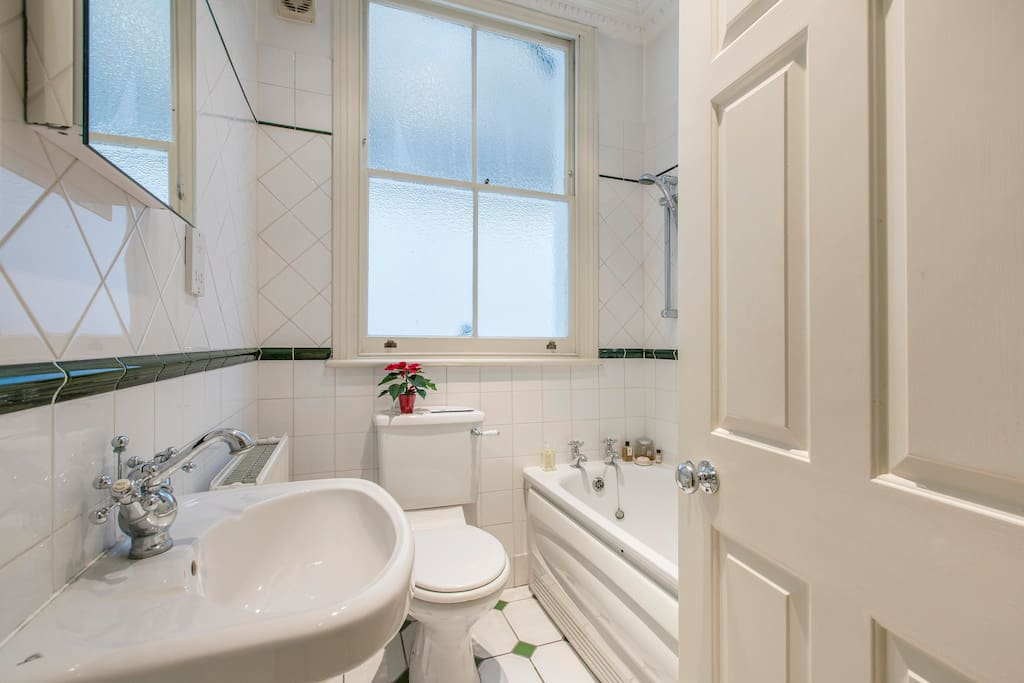 family sized bathroom with over-bath shower