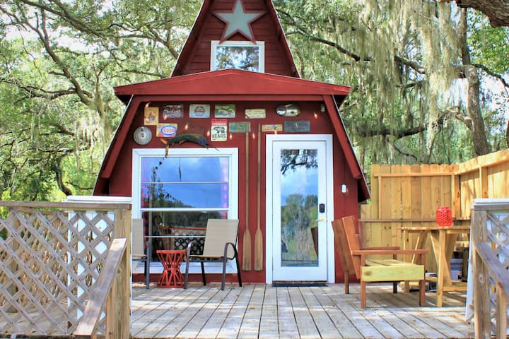 Camp Fox Den.  A waterfront A-frame with a view.