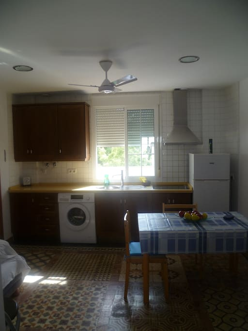 Salon-cocina con ventilador de techo