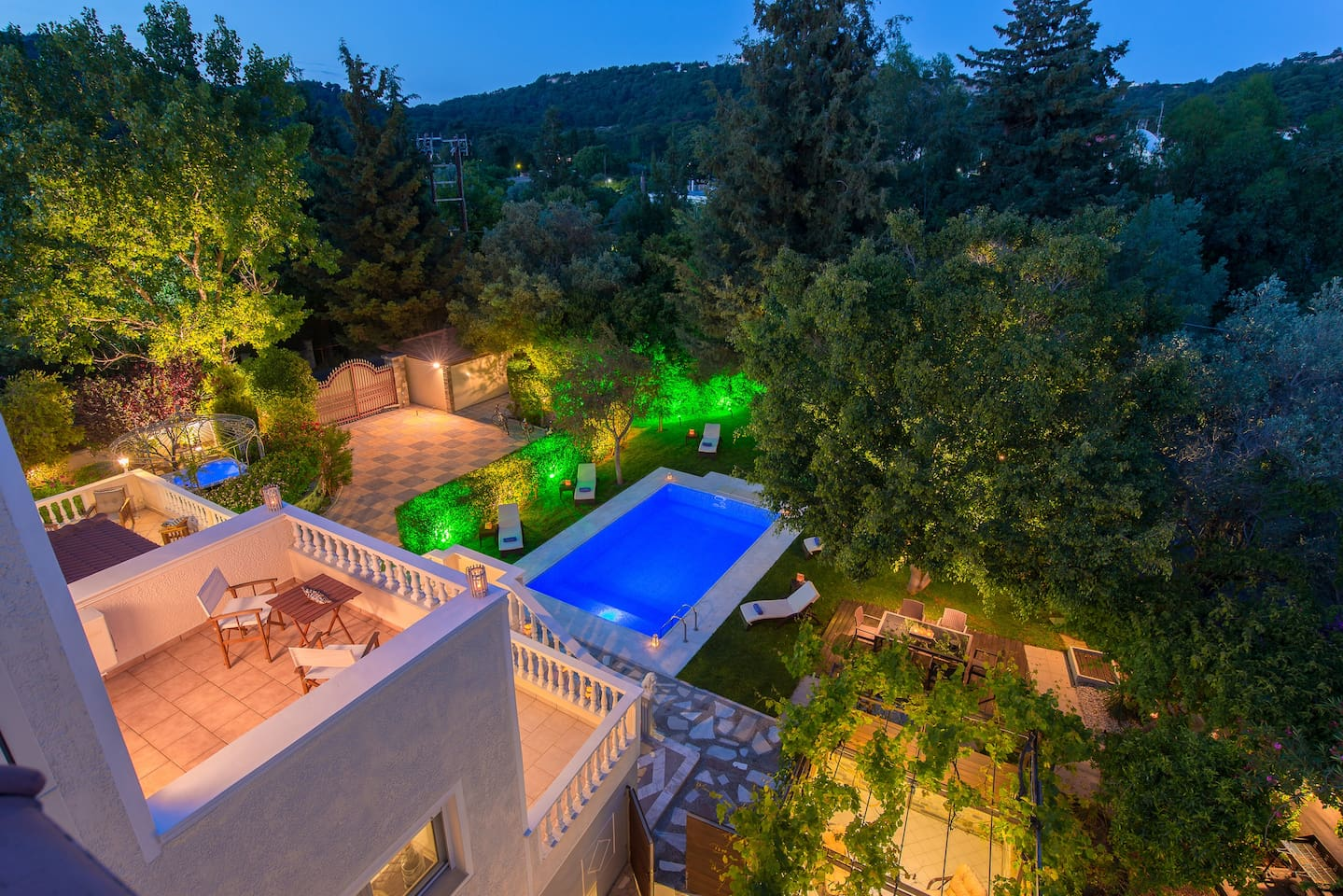 Night panoramic view from balcony over to breathtaking landscape  !