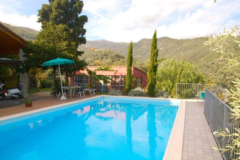 The pool has a superb location and views of the valley