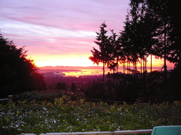 Furnished living and bedroom near Grouse Mountain