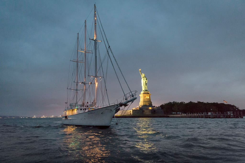After a specialty-made meal (with a few surprise dinner guests) on Ellis Island, take a late-night cruise circling around Lady Liberty.