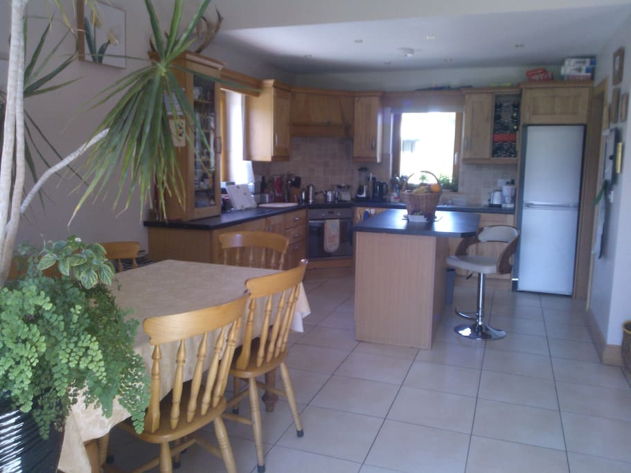 Dining area adjoining kitchen with island