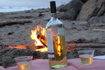 It's fun to have a bonfire on the beach and watch the sunset!
