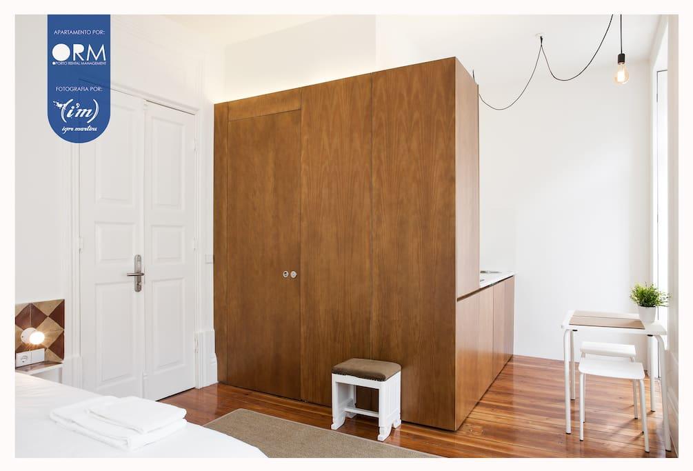 Studio overview (Bedroom + Dinning area + Kitchen)