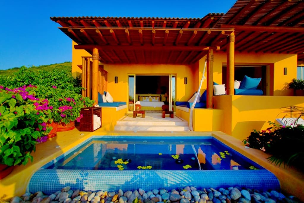 Jacuzzi and patio in front of master