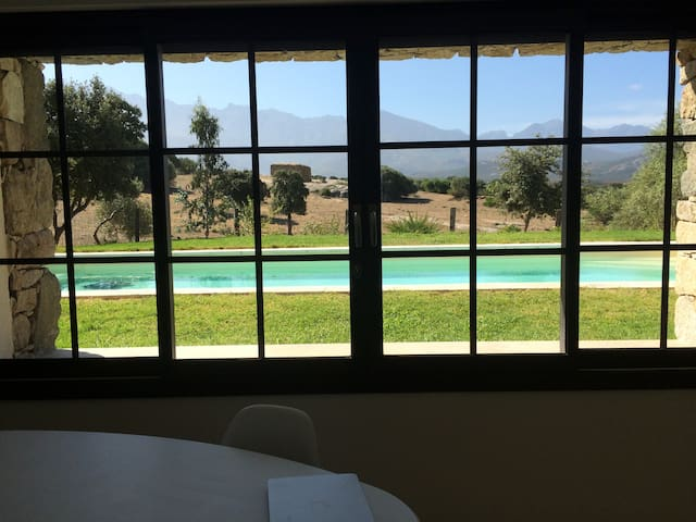 Studio neuf avec piscine chauffée et vue montagne. - Lumio