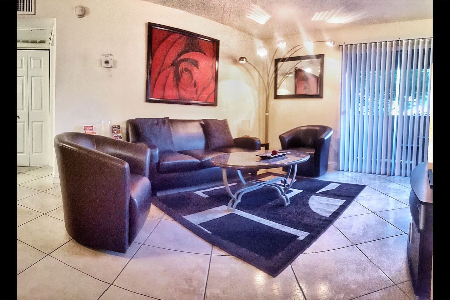 Modern Living Room and Patio with 50 inch HDTV