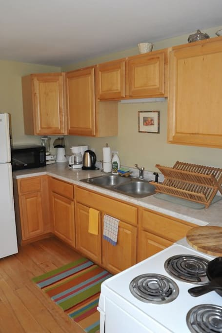 Kitchen includes full refrigerator, oven, microwave
