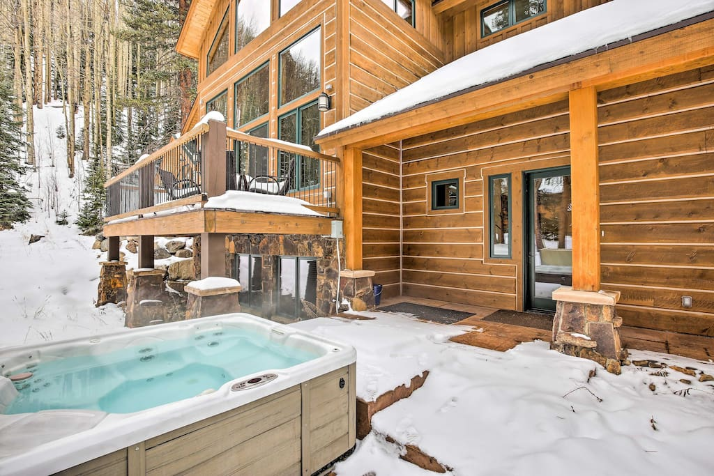 Stay warm soaking in the hot tub.