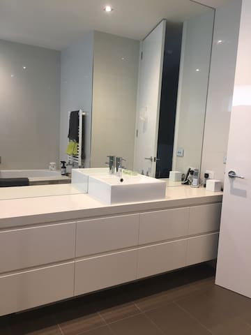 Your Private bathroom off the hallway close to the bedroom
